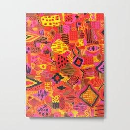 Boho Patchwork in Warm Tones Metal Print