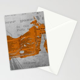 Triumph motorcycle newspaper collage, cut paper, original abstract art for men gift Stationery Cards