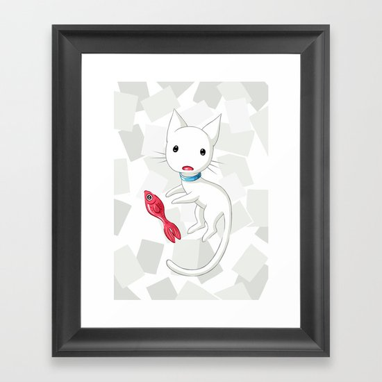 Cat and Fish Framed Art Print