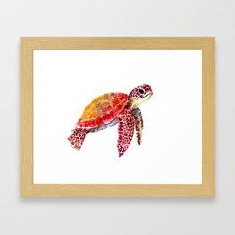 Baby Turtle decor, nursery art decor children room orange red Framed Art Print