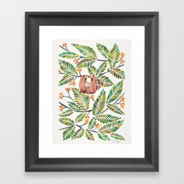Happy Sloth – Tropical Green Rainforest Framed Art Print