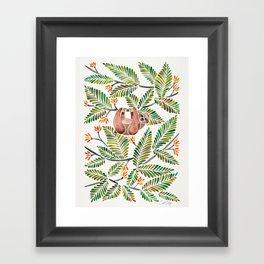 Happy Sloth – Tropical Green Rainforest Framed Art Print