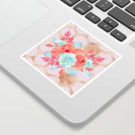 Blush pink hexagons succulent bouquet Sticker