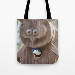 Tree Swallow in Bird House Tote Bag