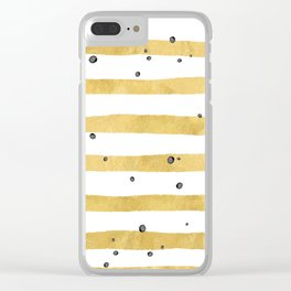 Modern hand painted yellow gold black watercolor splatters stripes Clear iPhone Case