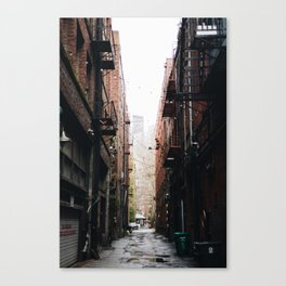 Alley in the city of Seattle Washington Canvas Print