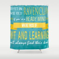 ravenclaw Shower Curtains featuring Wise Old Ravenclaw by MilkP