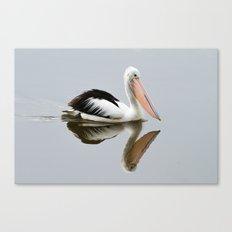 A Pelican Reflecting Canvas Print