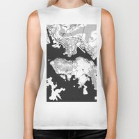 hong kong Biker Tanks featuring Hong Kong Map Gray by City Art Posters