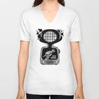 transistor V-neck T-shirts featuring Buy Music. by wurkingartist