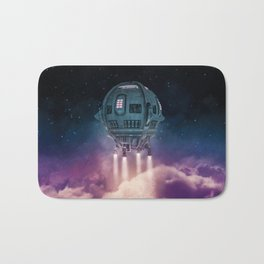 Out of the atmosphere / 3D render of spaceship rising above clouds Bath Mat