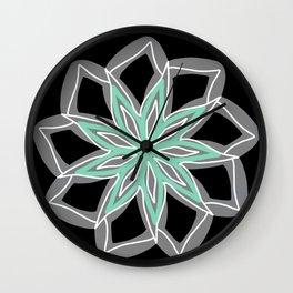 Grey, light teal and white Mandala Wall Clock