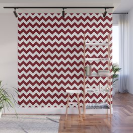Burgundy white modern geometrical chevron pattern Wall Mural