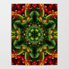Peppy pepper mandala - green center Poster