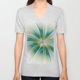Floral Lights, Abstract Fractal Art Unisex V-Neck