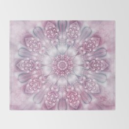 Dreams Mandala in Pink, Grey, Purple and White Throw Blanket