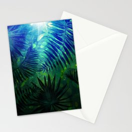 Blue Aloha - Morning Light abstract Tropical Palm Leaves and Monstera Leaf Garden Stationery Cards