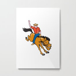 Rodeo Cowboy Riding Bucking Bronco Cartoon Metal Print