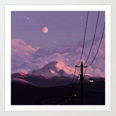 Mt Rainier with Powerlines Art Print