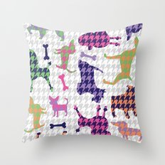 Houndstooth Hounds Throw Pillow