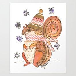 Bundled Up Squirrel Art Print