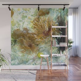 Watercolor Sealife, Magnificent Feather Duster 01, St John, USVI Wall Mural