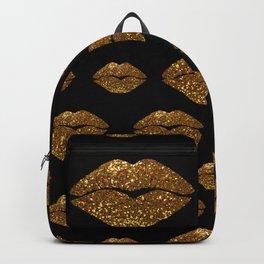 Gold Sparkle Kissing Lips Backpack