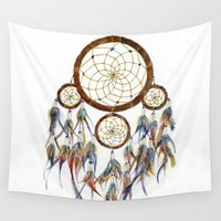 dream catcher Wall Tapestries featuring Dream Catcher by Sarah Jane Bradley