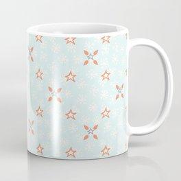 Blue Festive Star Snow Flake Lattice Winter Coffee Mug