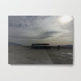 Abandoned Bus and some people Metal Print