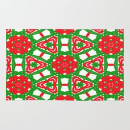 Red, Green and White Kaleidoscope 3372 Rug