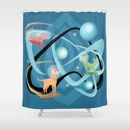 Atomic Rocket Powered Space Dogs Shower Curtain