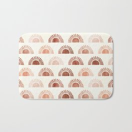 block print suns - terra cotta neutrals Bath Mat