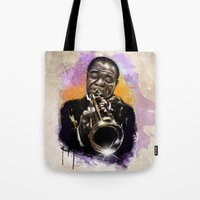 louis armstrong Tote Bags featuring Louis Armstrong by Philipe Kling