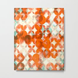 circles, orange art, geometric print, modern painting, mid century art, abstract art Metal Print