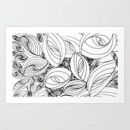 Leaf Pattern Doodle Art Art Print