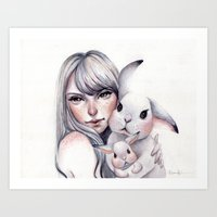 cuddle Art Prints featuring Cuddle! by Koanne Ko