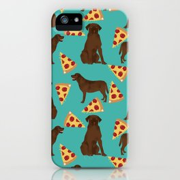 chocolate lab pizza cute funny dog breed pet pattern labrador retriever iPhone Case
