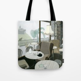Cafe With A View Of The Castle Tote Bag