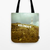 hollywood Tote Bags featuring Hollywood by Umbrella Design