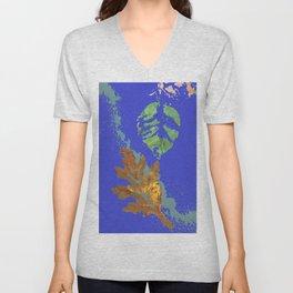 Oak Leaf on Royal Blue Painting Unisex V-Neck
