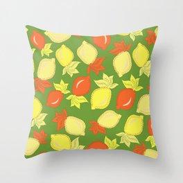 Tumbled Lemons Pattern Throw Pillow