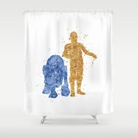 c3po Shower Curtains featuring C3PO and R2D2 Star . Wars by Carma Zoe