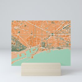 Barcelona city map orange Mini Art Print