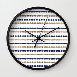 Elegant modern faux gold navy blue polka dots stripes Wall Clock