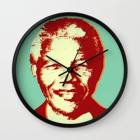 mandela Wall Clocks featuring NELSON MANDELA by mark ashkenazi