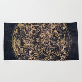 Vintage Constellations & Astrological Signs   Yellowed Ink & Cosmic Colour Beach Towel