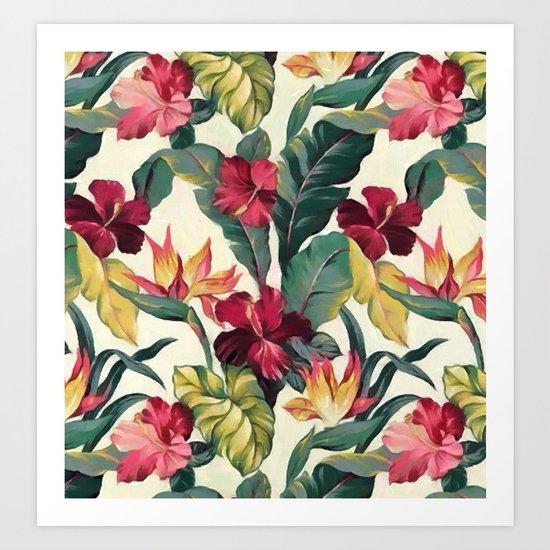 Colorful tropical garden Art Print