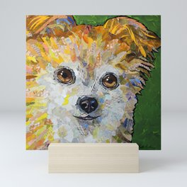 Dog with green background Mini Art Print