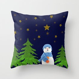Sparkly gold stars, snowman and green tree Throw Pillow